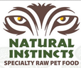 Picture of animal face with the words Natural Instincts specialty raw pet food